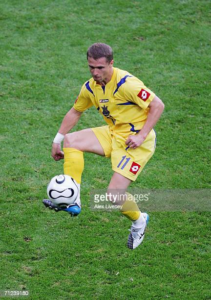 Serhiy Rebrov of Ukraine controls the ball during the FIFA World Cup Germany 2006 Group H match between Saudi Arabia and Ukraine played at the...