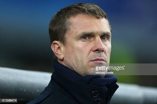 Serhiy Rebrov the coach of Dynamo Kiev looks on during the UEFA Champions League round of 16 match between Dynamo Kiev and Manchester City at the...