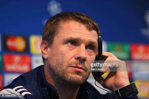 Serhiy Rebrov the coach of FC Dynamo Kyiv faces the media during a press conference at the Etihad Stadium on March 14 2016 in Manchester United...