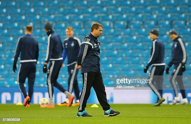 Serhiy Rebrov the coach of FC Dynamo Kyiv looks on during a training session at the Etihad Stadium on March 14 2016 in Manchester United Kingdom