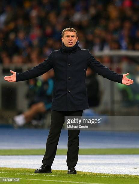 Serhiy Rebrov the head coach of Dynamo Kiev reacts during the UEFA Champions League round of 16 first leg match between FC Dynamo Kyiv and Manchester...