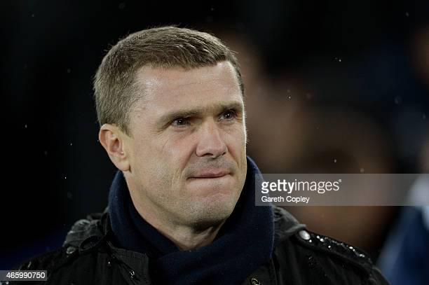 Serhiy Rebrov the manager of Dynamo Kyiv looks on during the UEFA Europa League Round of 16 first leg match between Everton and FC Dynamo Kyiv at...