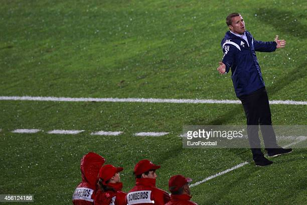 Serhiy RebrovHead Coach of FC Dynamo Kyiv looks on during the UEFA Europa League Group J match between Rio Ave FC and FC Dynamo Kyiv at the Dos Arcos...