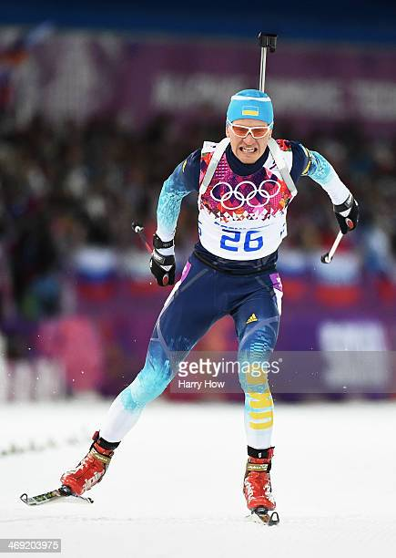 Serhiy Semenov of Ukraine competes in the Men's Individual 20 km during day six of the Sochi 2014 Winter Olympics at Laura Crosscountry Ski Biathlon...