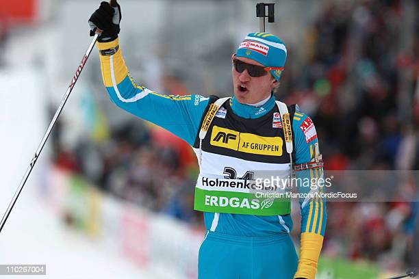 Serhiy Semenov of Ukraine competes in the men's sprint during the EON IBU Biathlon World Cup on March 17 2011 in Oslo Norway