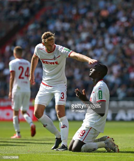Serhou Guirassy of FC Koeln celebrates after scoring his team`s fourth goal during the Second Bundesliga match between FC St Pauli and 1 FC Koeln on...