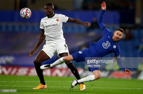 Serhou Guirassy of Stade Rennais in action with Jorginho of Chelsea during the UEFA Champions League Group E stage match between Chelsea FC and Stade...