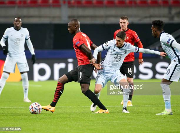 Serhou Guirassy of Stade Rennais, Jorginho of Chelsea during the UEFA Champions League Group E stage match between Stade Rennais and Chelsea FC at...