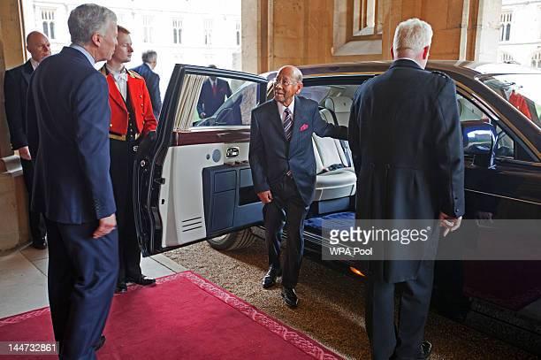 Seri Paduka Baginda Yang diPertuan Agong of Malaysia arrive at a lunch For Sovereign Monarchs in honour of Queen Elizabeth II's Diamond Jubilee at...
