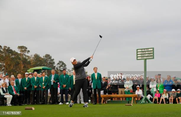 SeRi Pak of South Korea takes part in a First Tee ceremony prior to the final round of the Augusta National Women's Amateur at Augusta National Golf...