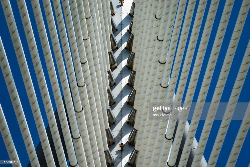 Seri Wawasan Bridge is a cable-stayed bridge in Putrajaya, Malaysia : Stock Photo