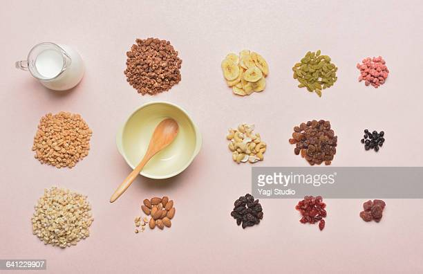 serial food and dry fruits knolling style. - nut food stock photos and pictures