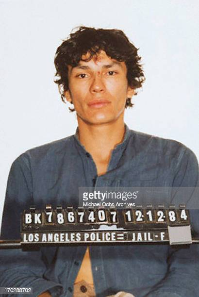 Serial killer Richard Ramirez aka The Night Stalker in his mug shot or booking photo on DECEMBER 12 1984 in Los Angeles California