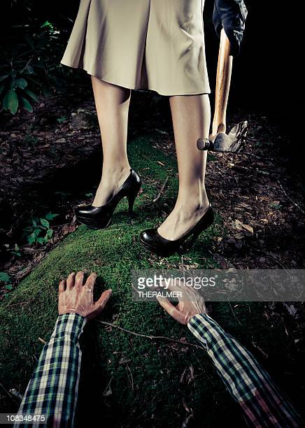 serial killer woman in the crime scene - murderer stock pictures, royalty-free photos & images