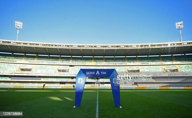 Serie A branding during the Serie A match between Hellas Verona FC and US Sassuolo at Stadio Marcantonio Bentegodi on November 22, 2020 in Verona,...