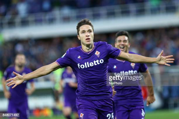 Serie A Fiorentina v Bologna Federico Chiesa of Fiorentina celebration after the goal of 10 scored at Artemio Franchi Stadium in Florence Italy on...