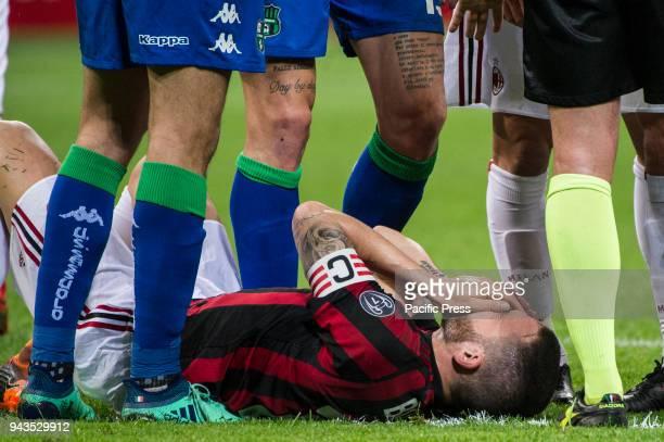Serie A football AC Milan versus US Sassuolo Leonardo Bonucci of AC Milan injured
