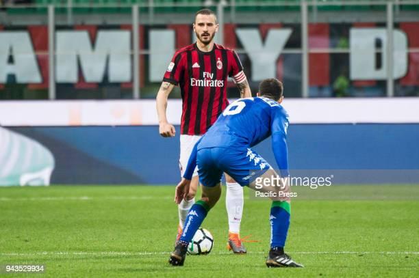 Serie A football AC Milan versus US Sassuolo Leonardo Bonucci of AC Milan competes for the ball with Luca Mazzitelli of US Sassuolo