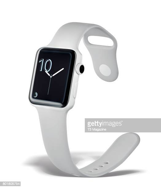 A Series 2 Apple Watch with a ceramic case with a white sport strap taken on September 29 2016