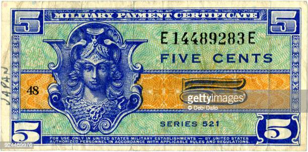 series 521 military payment certificate five cents front - engraved image stock pictures, royalty-free photos & images