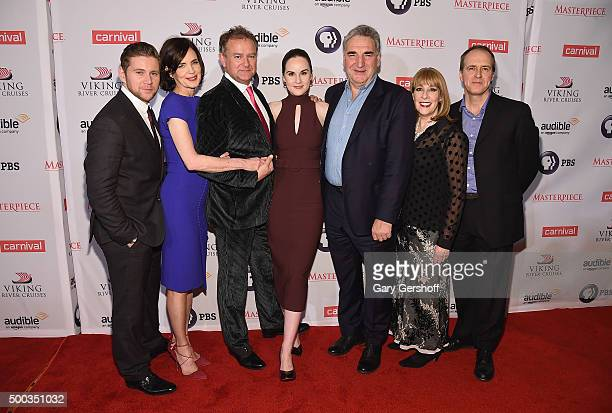 Series cast members Allen Leech Elizabeth McGovern Hugh Bonneville Michelle Dockery Jim Carter Phyllis Logan and Kevin Doyle attend the 'Downton...