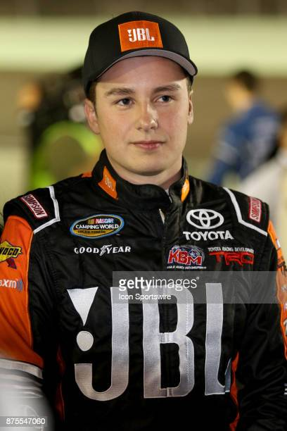 Series champion Christopher Bell driver of the JBL Toyota on pit road before the start of the Ford EcoBoost 200 at HomesteadMiami Speedway on...