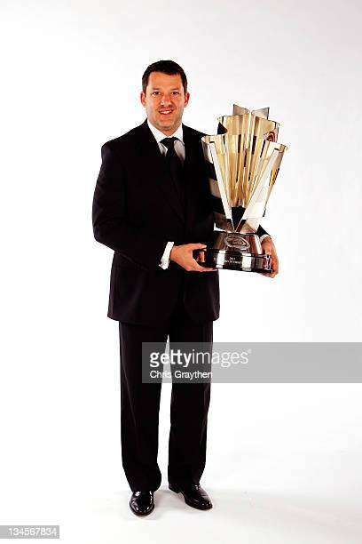Series champion Tony Stewart poses during the NASCAR Sprint Cup Series Champion's Week Awards Ceremony at Wynn Las Vegas on December 2 2011 in Las...