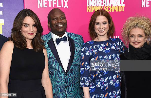 "Series co-creator and executive producer Tina Fey and actors Tituss Burgess, Ellie Kemper and Carol Kane attend the ""Unbreakable Kimmy Schmidt""..."