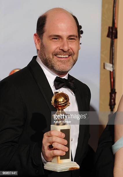 """Series creator and executive producer Matthew Weiner, winner of Best Television Series - Drama award for """"Mad Men"""" poses in the press room at the..."""