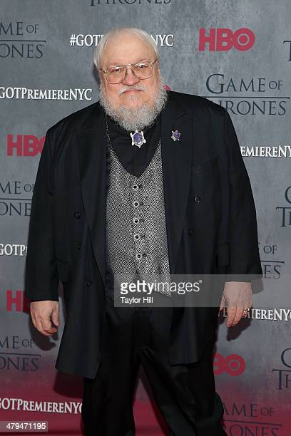 """Series creator George R.R. Martin attends the """"Game Of Thrones"""" Season 4 premiere at Avery Fisher Hall, Lincoln Center on March 18, 2014 in New York..."""