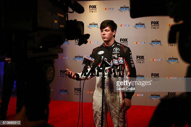 Series driver Erik Jones is interviewed during NASCAR Media Day at Daytona International Speedway on February 16 2016 in Daytona Beach Florida