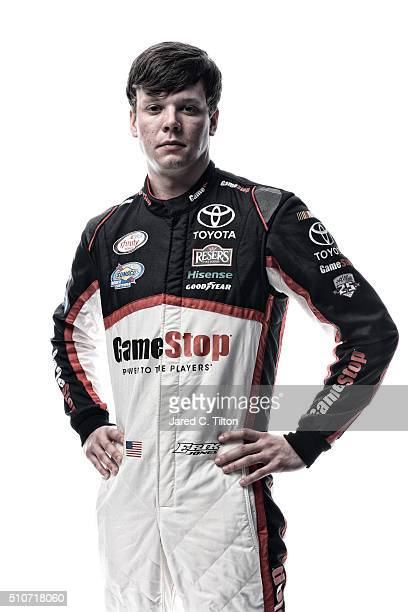 NASCAR XFINITY Series driver Erik Jones poses for a portrait during NASCAR Media Day at Daytona International Speedway on February 16 2016 in Daytona...