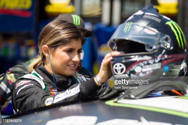 Series driver Hailie Deegan prepares for the first practice for the NASCAR KN Pro Series Casey's General Store 150 on July 26 at Iowa Speedway in...