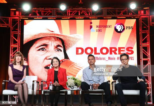 Series Executive Producer Lois Vossen activist Dolores Huerta writer producer director Peter Bratt and actor Benjamin Bratt speak during the PBS...