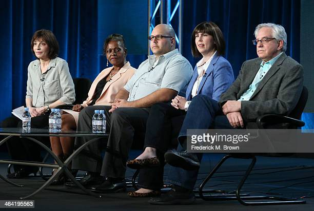 Series Executive Producer Marsha Bemko guest Loretta guest David appraiser Laura Woolley and appraiser Wes Cowan speak onstage during the ' Antiques...