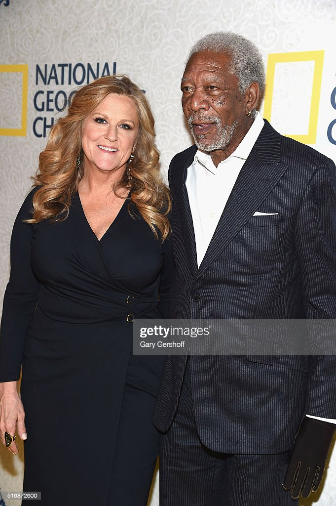 Series executive producers Lori McCreary and Morgan Freeman attend the National Geographic 'The Story Of God' with Morgan Freeman world premiere at Jazz at Lincoln Center on March 21, 2016 in New York City.