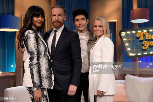 PLACE Series Forking Finale The cast of The Good Place celebrates the series finale with Seth Meyers from 30 Rock in New York NY Pictured Jameela...