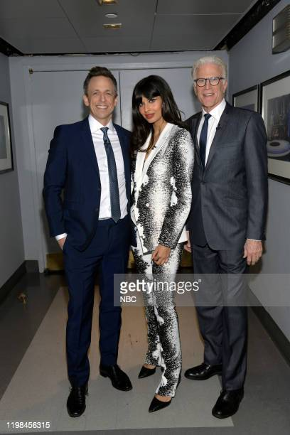PLACE Series Forking Finale The cast of The Good Place celebrates the series finale with Seth Meyers from 30 Rock in New York NY Pictured Seth Meyers...