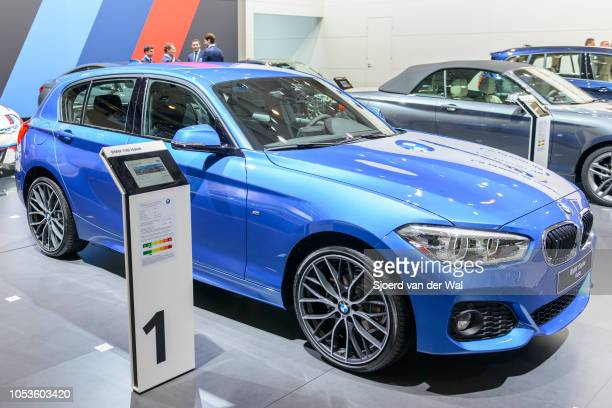 Series Hatch compact hatchack car front view on display at Brussels Expo on January 13, 2017 in Brussels, Belgium. The BMW 1 Series is available in...