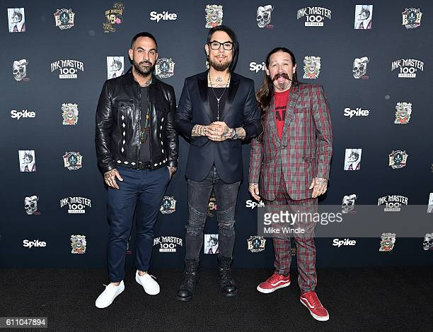 Series Judge Chris Nunez Series Host Dave Navarro and Series Judge Oliver Peck attend Spike's Ink Master100th episode party at NeueHouse Hollywood on...
