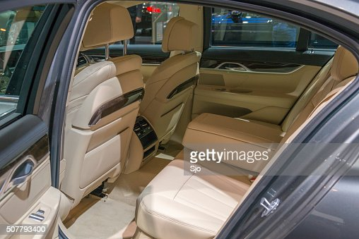 bmw 7 series luxury limousine car interior back seats stock photo getty images. Black Bedroom Furniture Sets. Home Design Ideas