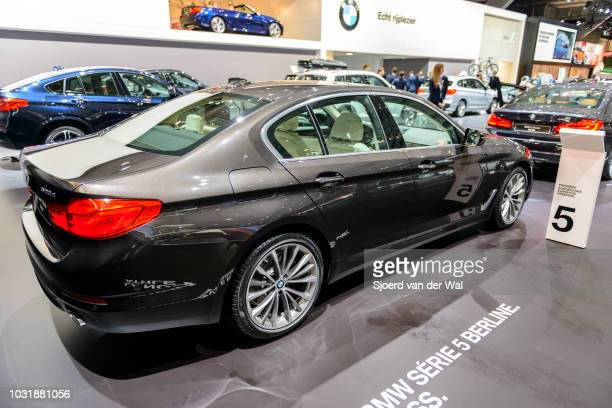 BMW 5 series luxury limousine car The car is on display at Brussels Expo on January 9 2017 in Brussels Belgium