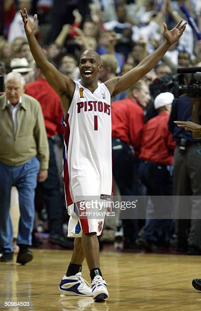 Series MVP Chauncey Billups of the Detroit Pistons celebrates after beating the Los Angeles Lakers in game five of the NBA Finals to win the...