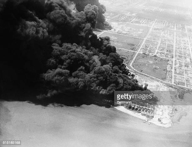 A series of blasts a few hours earlier caused the fire that is ripping through Texas City This smoke was caused by burning oil storage tanks from a...