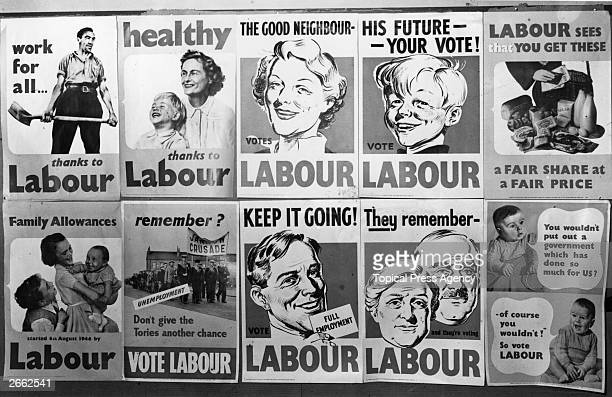 A series of election posters produced by the British Labour Party