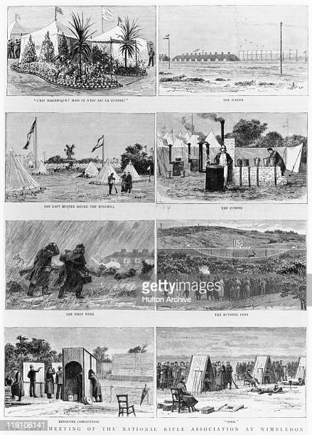 Series of illustrations depicting scenes at a meeting of the National Rifle Association on Wimbledon Common, London, circa 1875. The captions read...