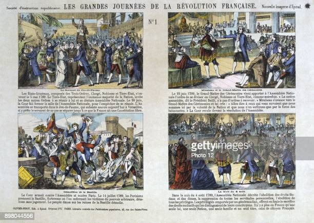Series of illustrations depicting the events of the French Revolution in 1789 including the Tennis Court Oath and the Storming of the Bastille