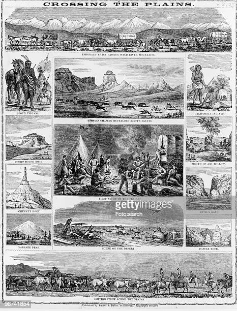 Series of illustrations titled 'Crossing The Plains' from 'Hutchins Panoramic Scenes' depicting 'Emigrant train passing Wind River Mountain' 'Sioux...