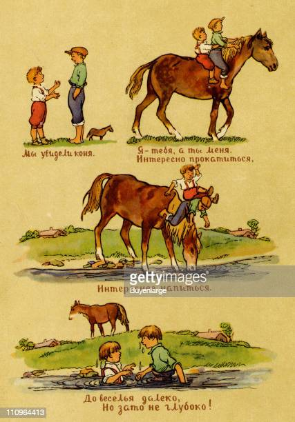 Series of illustrations with Cyrillic text that depicts two young boys as they ride a horse to a river and then fall in when the horse bends its head...