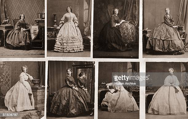 A series of images depicting Victorian women wearing crinolinescirca 1860